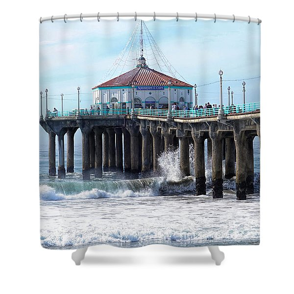 Windy Manhattan Pier Shower Curtain