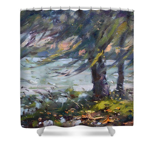 Windy Sunset At Fishermans Park Shower Curtain