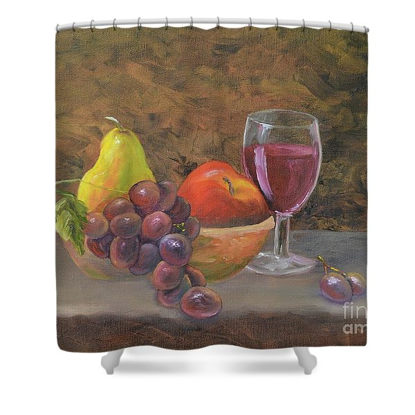 Shower Curtain featuring the painting Wine And Fruit by Mary Scott