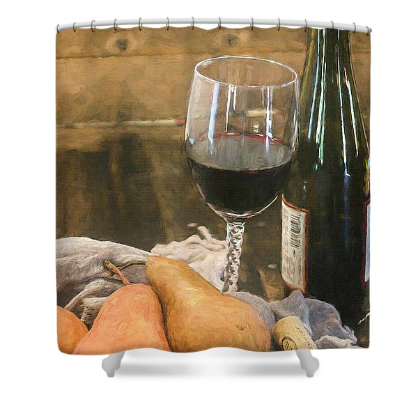 Wine And Pears Shower Curtain