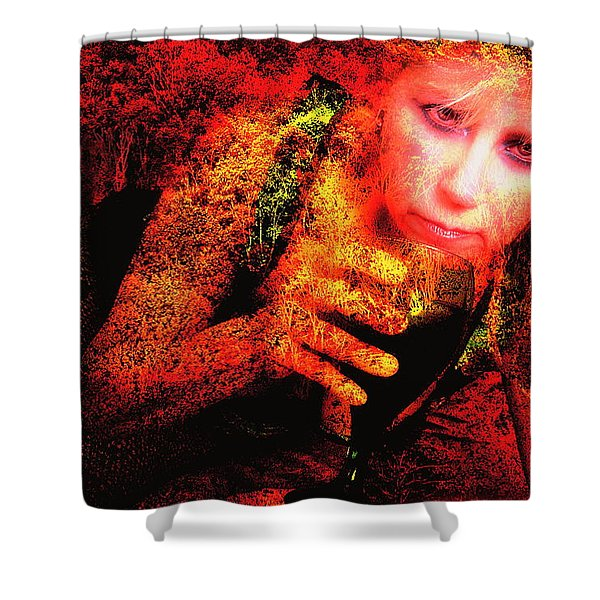 Wine Woman And Fall Colors Shower Curtain