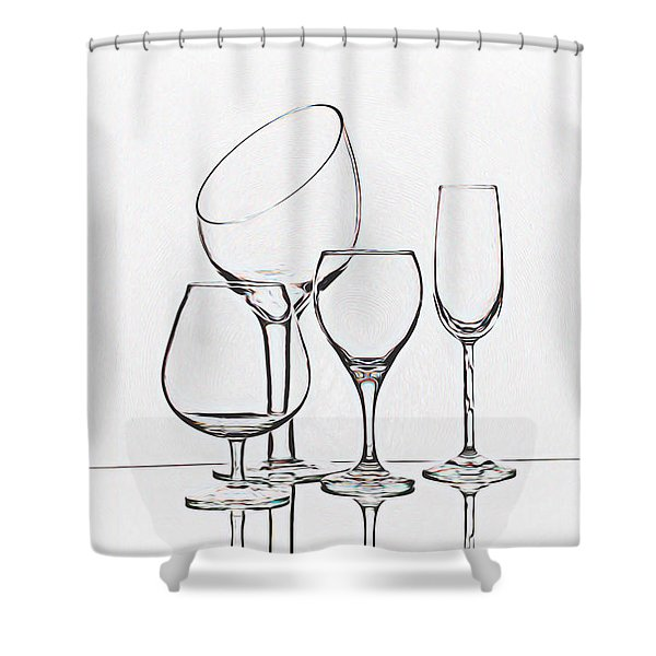 Wineglass Graphic Shower Curtain