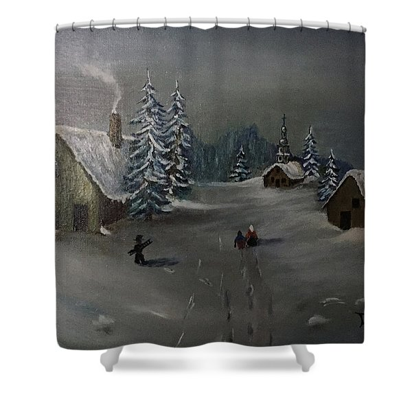 Winter In A German Village Shower Curtain