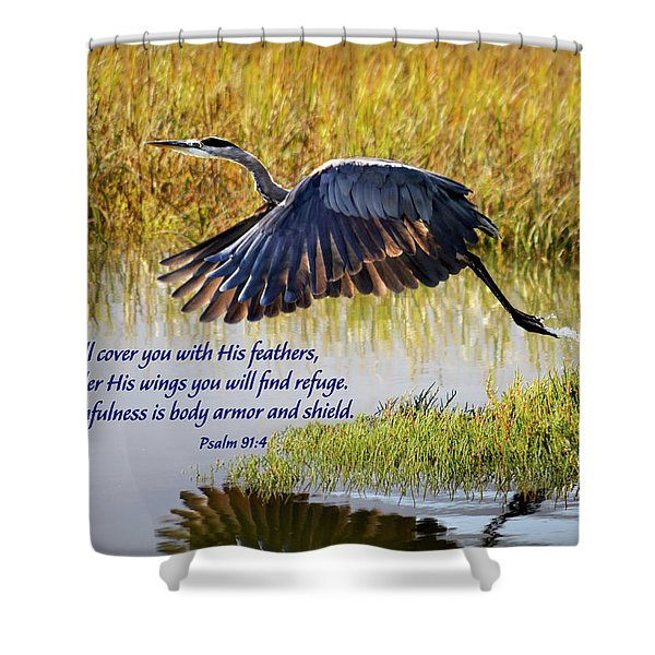 Wings Of Refuge With Scripture Shower Curtain