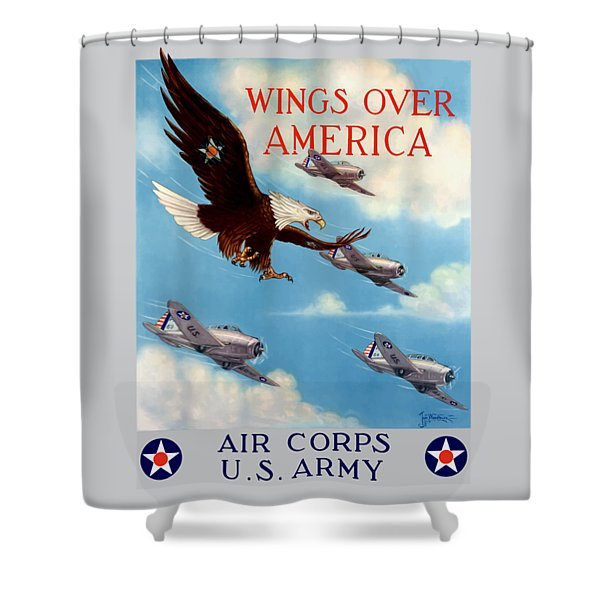 Wings Over America - Air Corps U.s. Army Shower Curtain