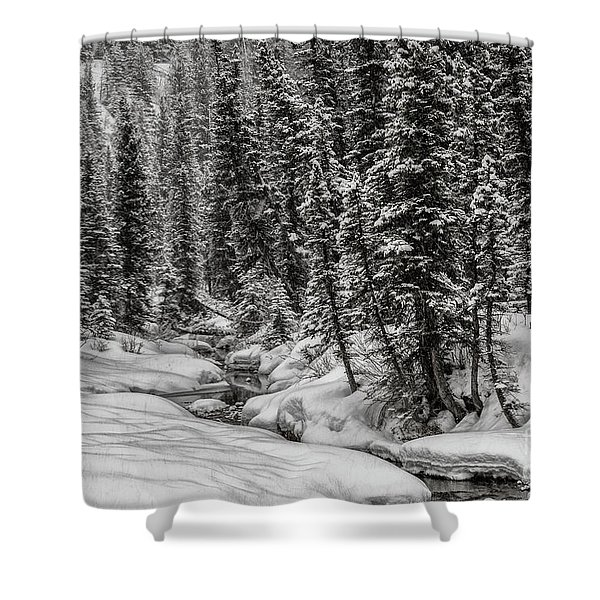 Winter Alpine Creek II Shower Curtain