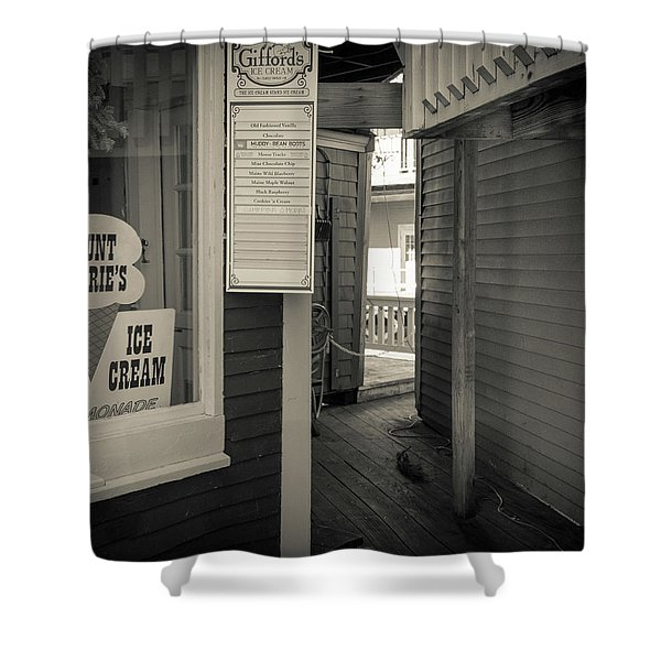Winter At Aunt Marie's Ice Cream Stand Shower Curtain