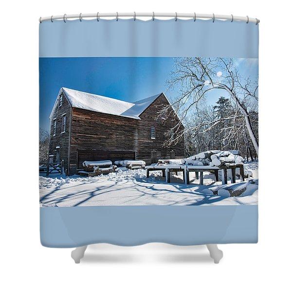 Winter At Batsto Sawmill Shower Curtain