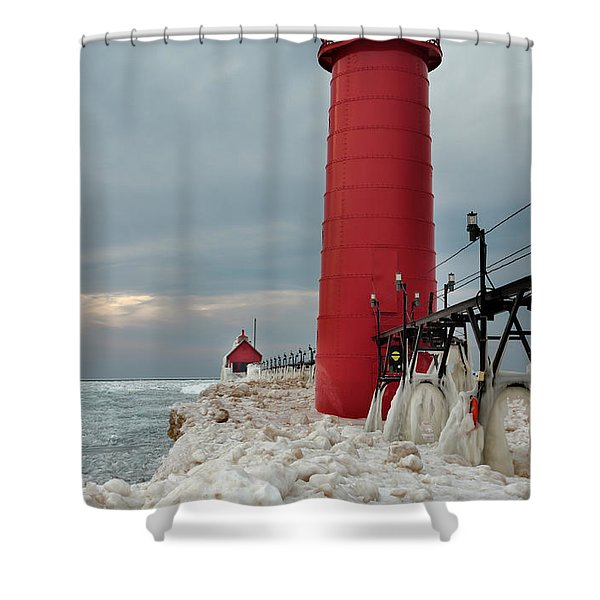 Winter At Grand Haven Lighthouse Shower Curtain