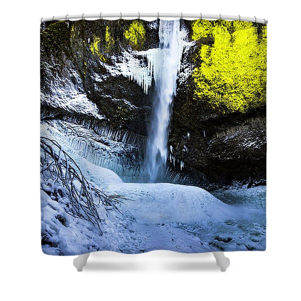 Winter At Latourell Falls Shower Curtain