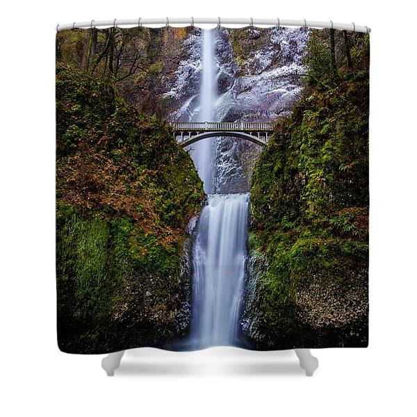 Winter At Multnomah Falls 2 Shower Curtain