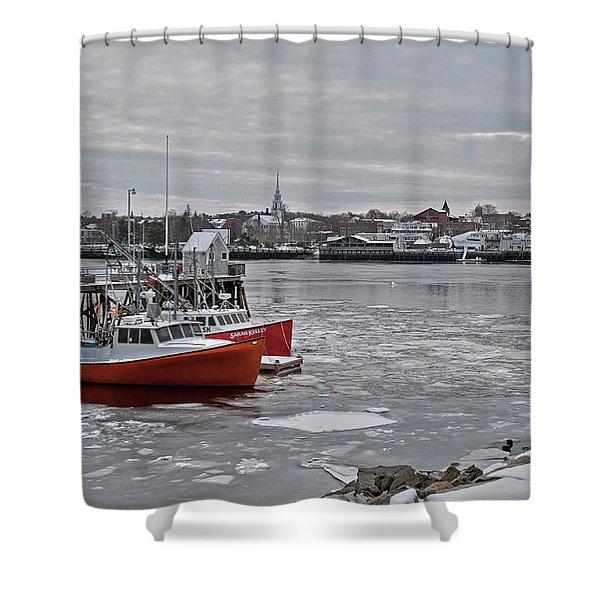 Winter At Newburyport Harbor Shower Curtain