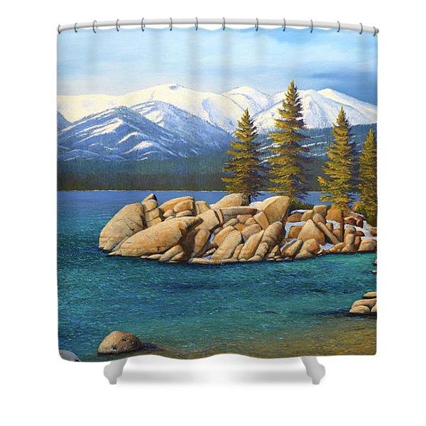 Winter At Sand Harbor Lake Tahoe Shower Curtain