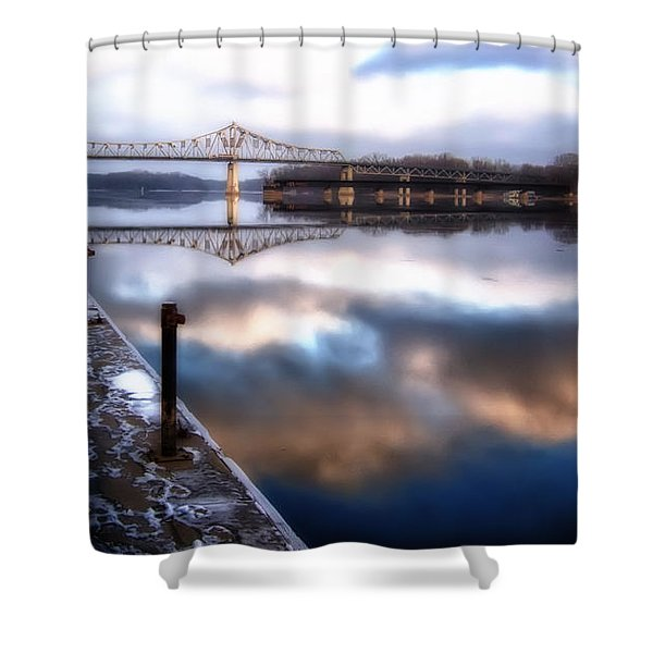 Winter At The Levee Shower Curtain