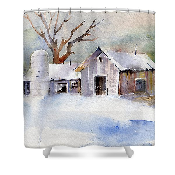 Winter Barn Shower Curtain