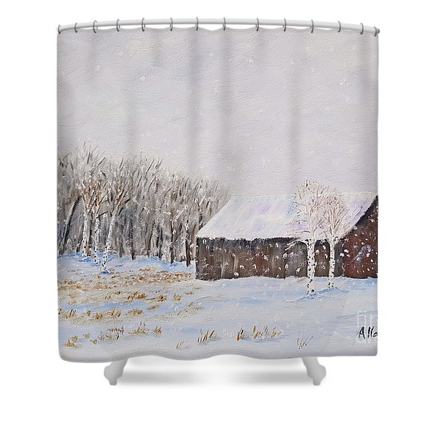 Winter Barn Shower Curtain