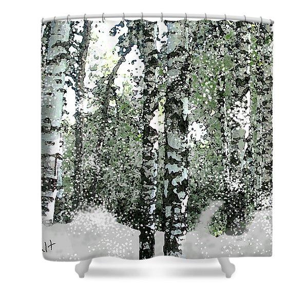 Winter Birches Shower Curtain