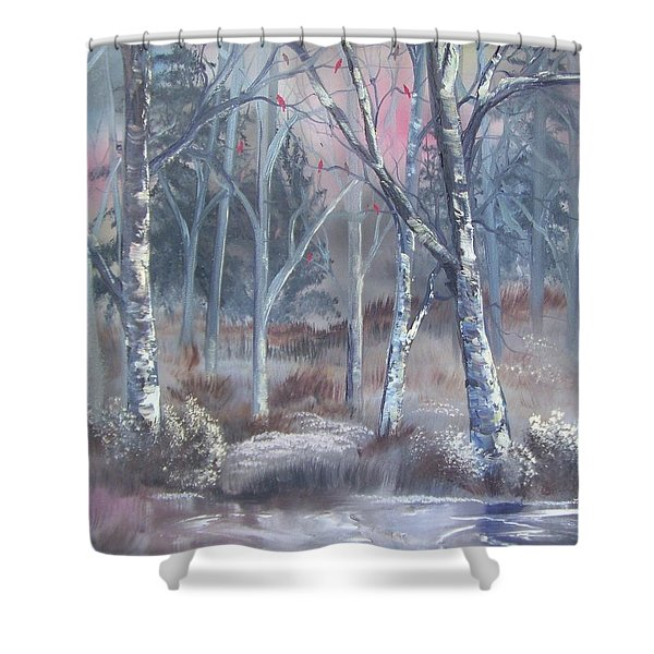 Shower Curtain featuring the painting Winter Cardinals by Deleas Kilgore