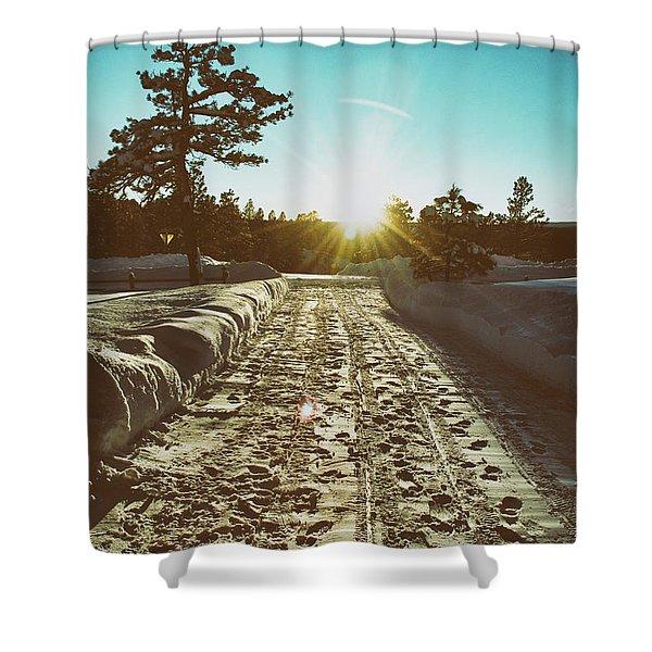 Winter Driveway Sunset Shower Curtain