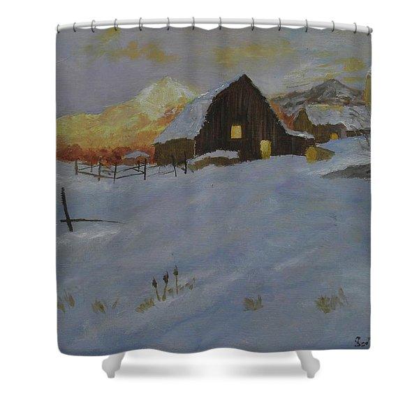 Winter Dusk On The Farm Shower Curtain