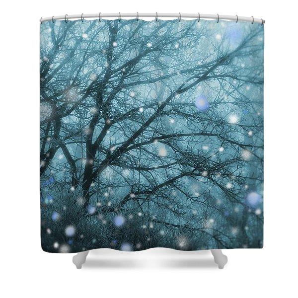 Winter Evening Snowfall Shower Curtain
