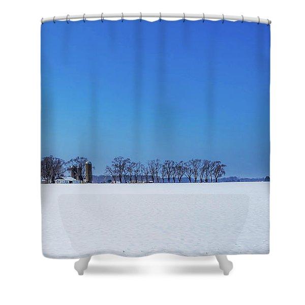 Winter Farm Blue Sky Shower Curtain