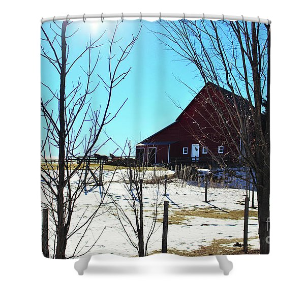 Winter Farm House Shower Curtain