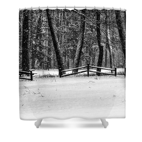Winter Fences In Black And White  Shower Curtain