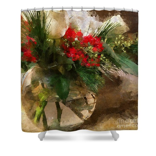 Winter Flowers In Glass Vase Shower Curtain