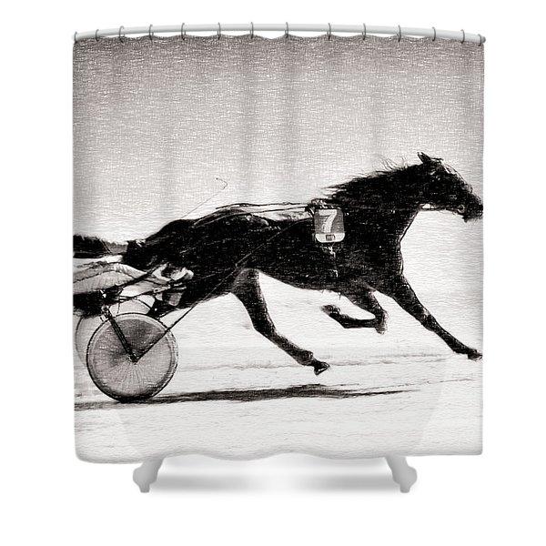 Winter Harness Racing Shower Curtain