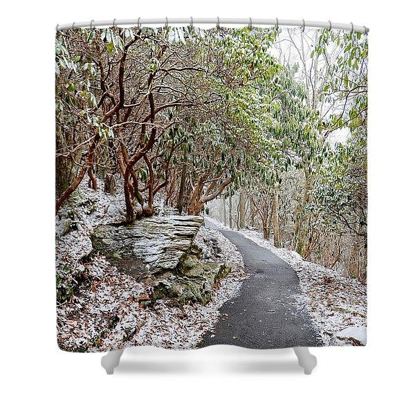 Winter Hiking Trail Shower Curtain