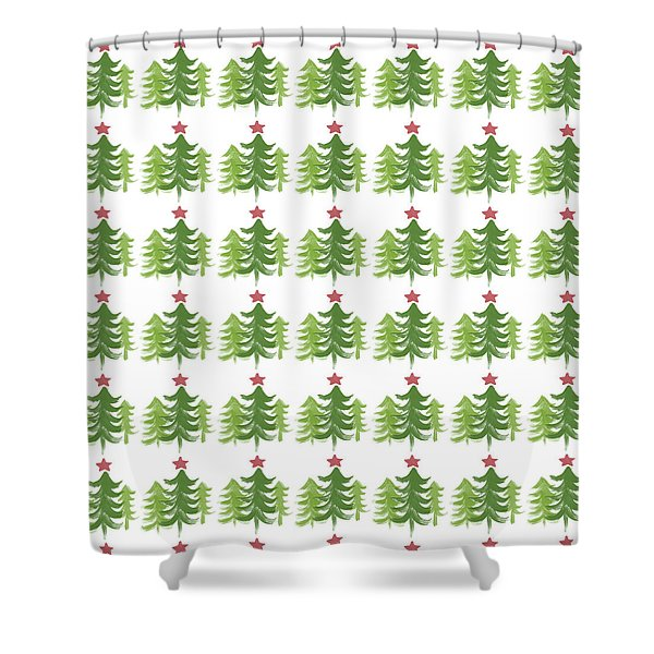 Winter Holiday Trees 1-  Art By Linda Woods Shower Curtain