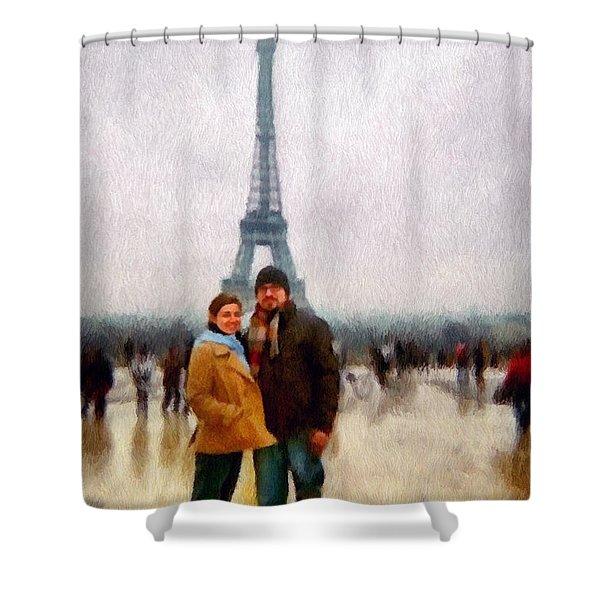 Winter Honeymoon In Paris Shower Curtain