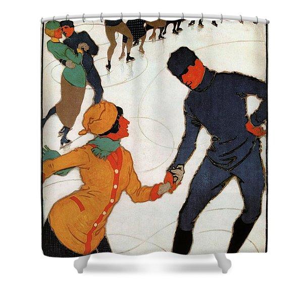 Winter In Davos, Switzerland - Ski Resort - Retro Travel Poster - Vintage Poster Shower Curtain