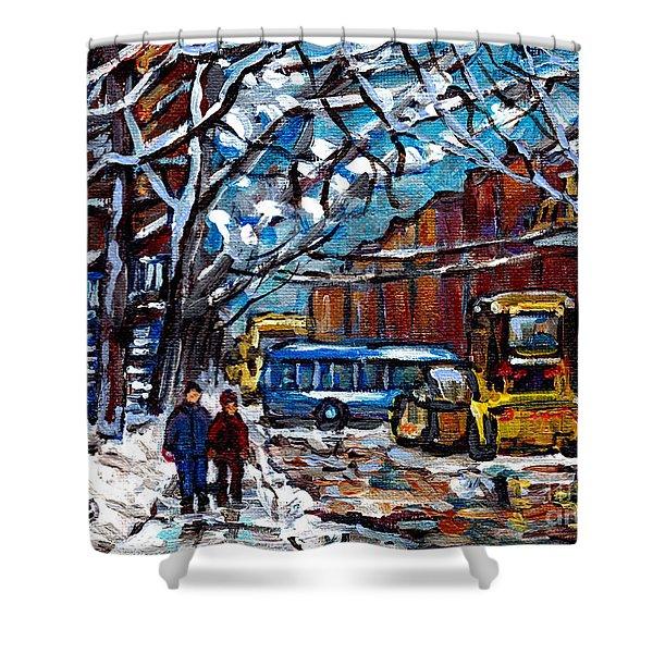 Winter In The City Montreal Verdun Snowscene Painting Snowplow And Bus Scene Canadian Art C Spandau Shower Curtain