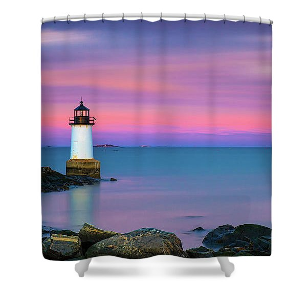 Winter Island Light 1 Shower Curtain