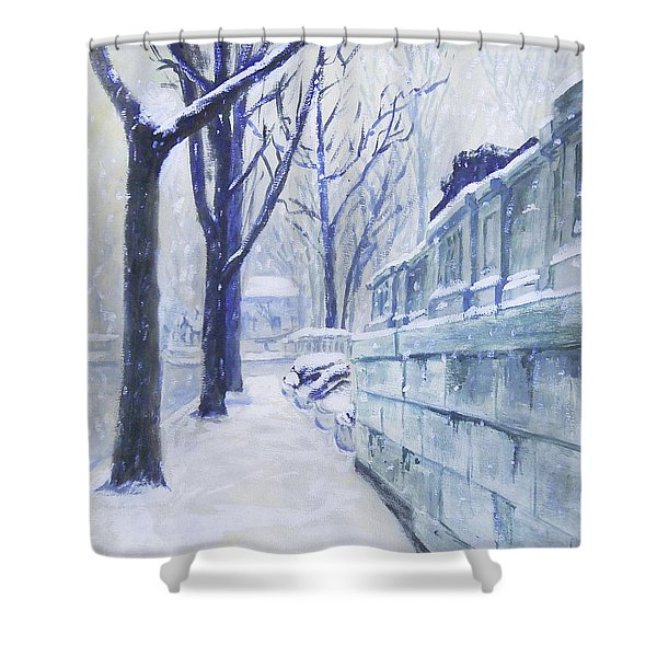 Winter Landscape Washington Dc Original Painting Sketch Shower Curtain