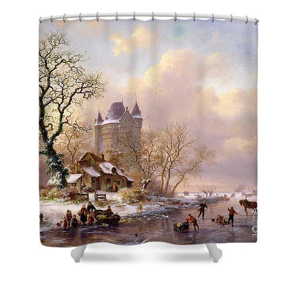 Winter Landscape With Castle Shower Curtain
