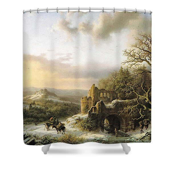 Winter Landscape With Peasants Gathering Wood Shower Curtain