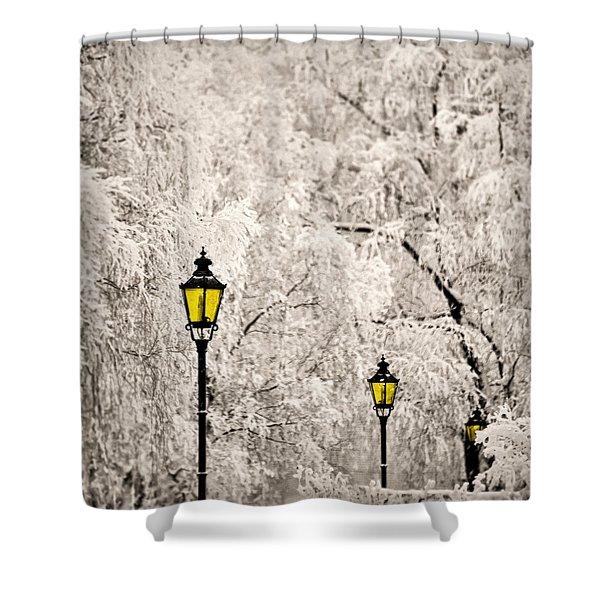Winter Lanterns Shower Curtain