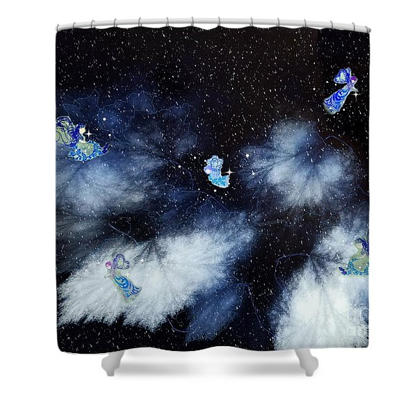 Winter Leaves And Fairies Shower Curtain
