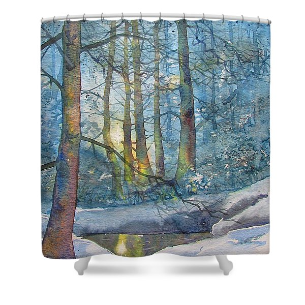 Winter Light In The Forest Shower Curtain