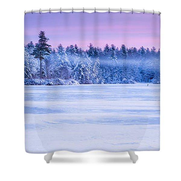 Winter Mist Baxter Lake New Hampshire Shower Curtain