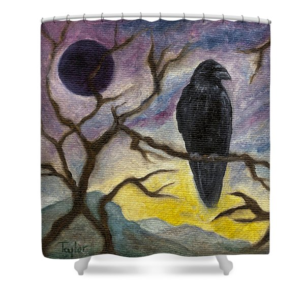 Winter Moon Raven Shower Curtain