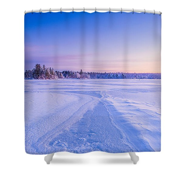 Shower Curtain featuring the photograph Winter Morning Baxter Lake Nh by Jeff Sinon