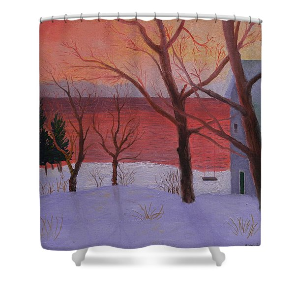 Winter Ocean Sunrise Shower Curtain