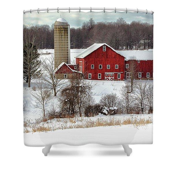 Winter On A Farm Shower Curtain