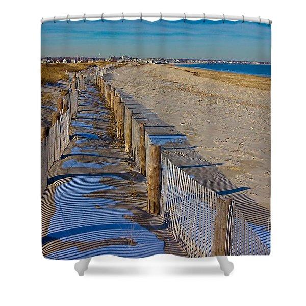 Winter On Duxbury Beach Shower Curtain