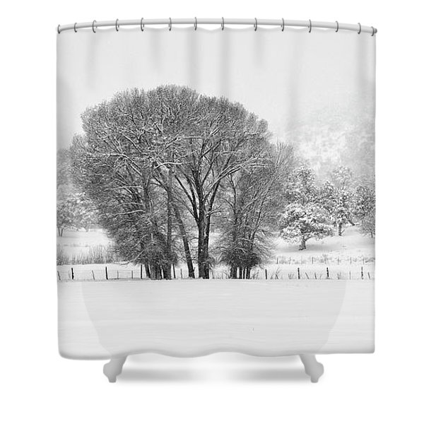 Winter Pasture In Black And White Shower Curtain