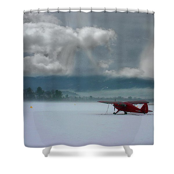 Winter Plane Shower Curtain